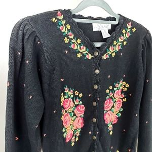 Vintage Floral Embroidered Button Down Sweater